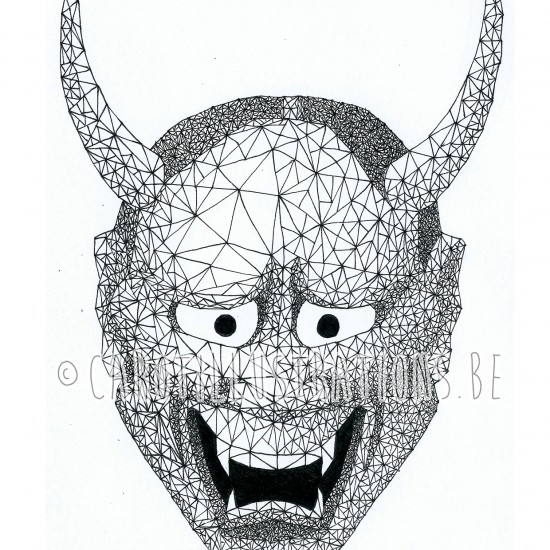 geometric hannya mask