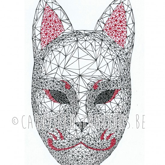 geometric kitsune mask